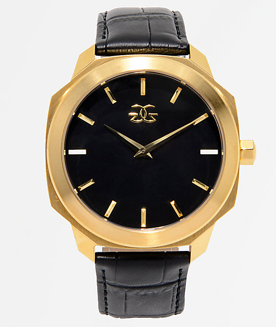 The Gold Gods Julius Black Leather & Gold Analog Watch
