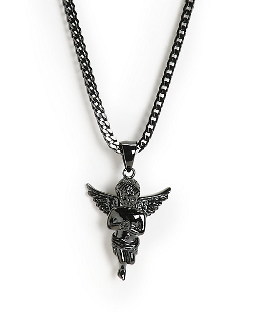 The Gold Gods Micro Angel Black Rhodium Necklace