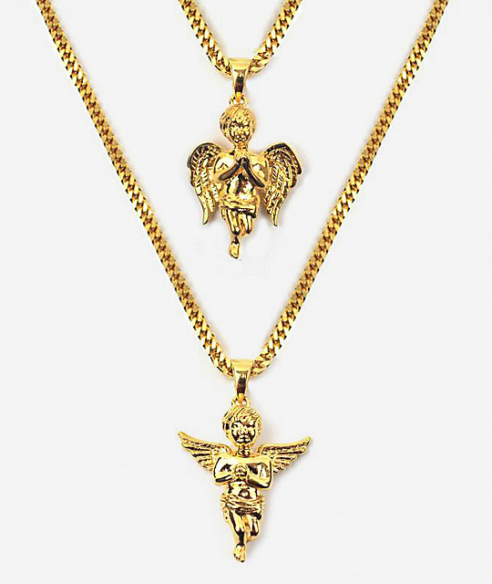 The Gold Gods Micro Angel Gold Necklace Layered Set Zumiez