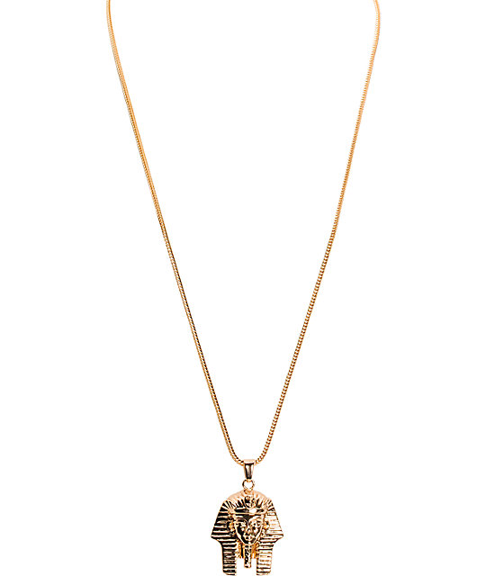 The Gold Gods Pharaoh Head Gold Necklace