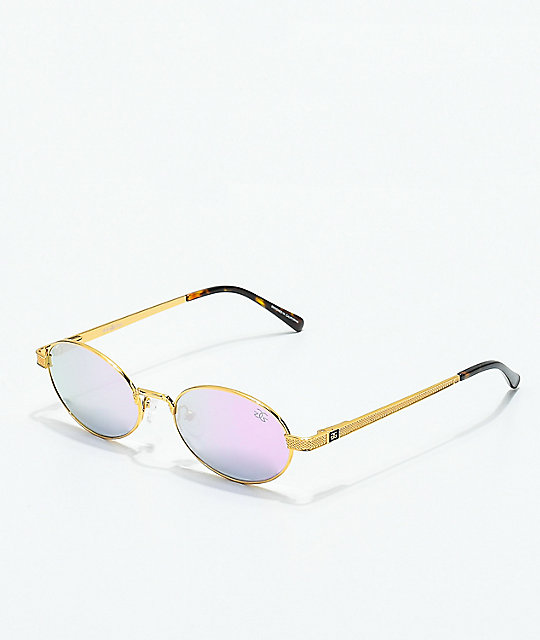 The Gold Gods The Ares Gold & Lavender Gradient Sunglasses