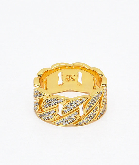 The Gold Gods anillo cubano con diamantes
