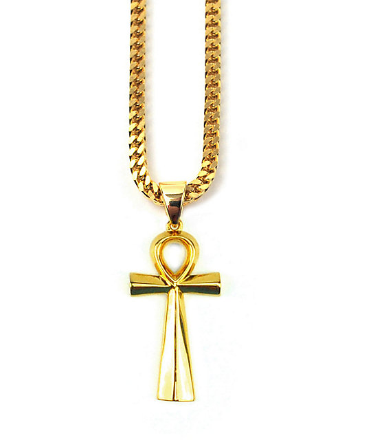 The gold gods ankh cross pendant 28 necklace zumiez the gold gods collar 28 aloadofball Images