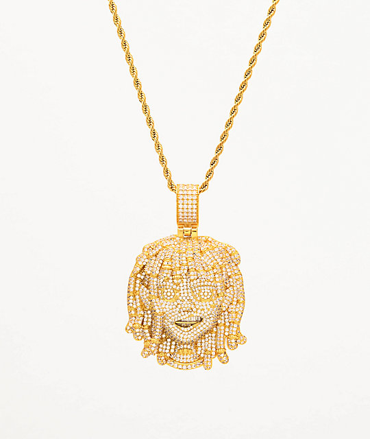 The Gold Gods x Lil Pump Full Iced Face collar de oro amarillo de 22