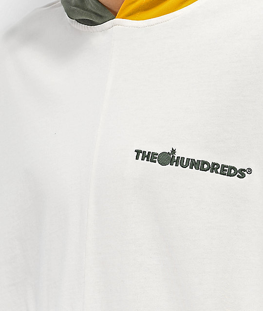 The Hundreds Abstract Off-White, Gold & Green Colorblock Long Sleeve Hoodie