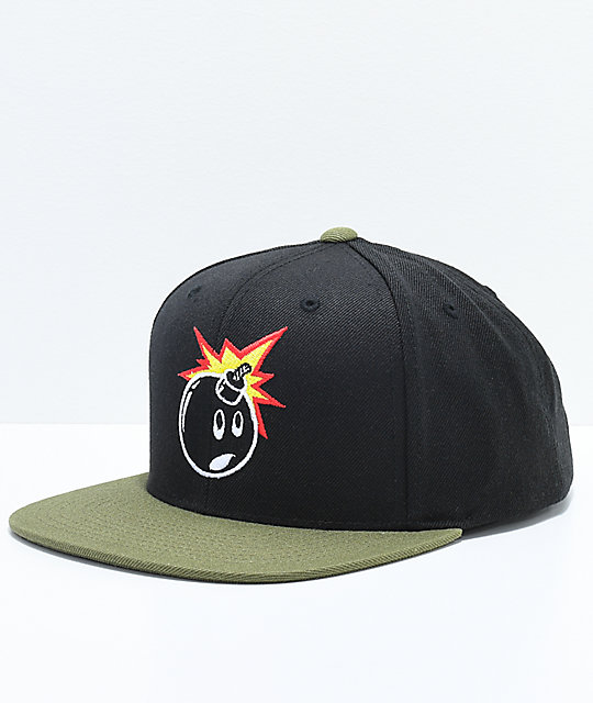 The Hundreds Adam Black   Olive Snapback Hat  5ba7943c2f3