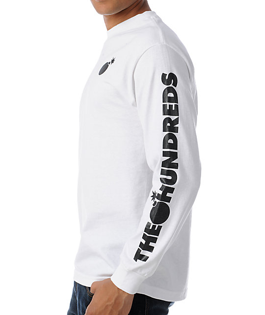 The Hundreds Bar Logo Long Sleeve White T-Shirt