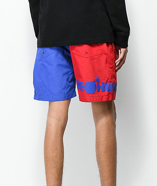The Hundreds Blue & Red Colorblock Shorts