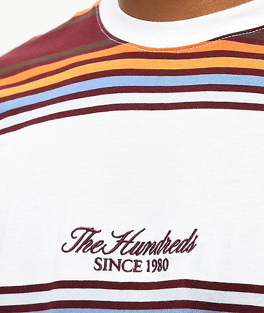 The Hundreds Board camiseta borgoña y blanca de rayas