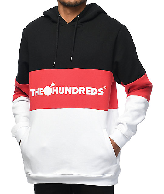 696be35f The Hundreds Canal Black, Red & White Hoodie | Zumiez