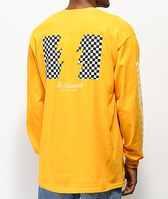 The Hundreds Checkered Flag camiseta amarilla de manga larga