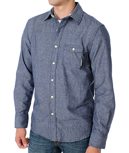The Hundreds Compass Blue Long Sleeve Woven Shirt