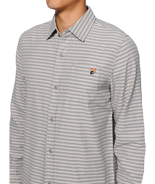 The Hundreds Crash Grey Striped Long Sleeve Button Up Shirt
