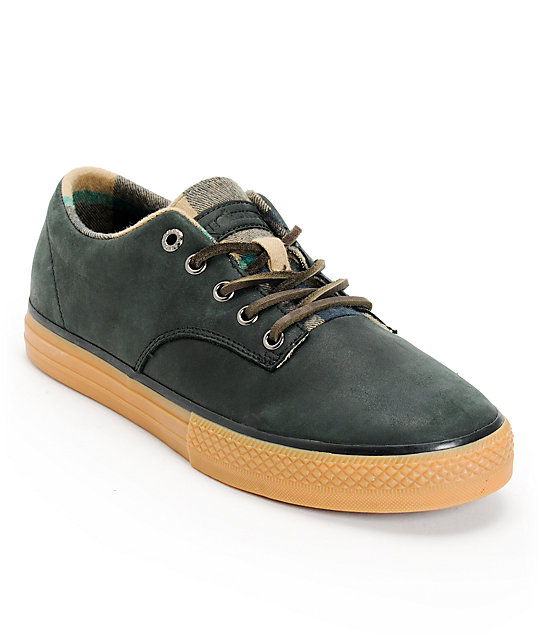 The Hundreds Johnson Low Black & Flannel Leather Skate Shoes