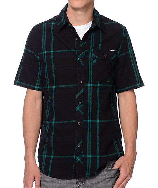 The Hundreds Lemieux Black Short Sleeve Flannel Shirt Zumiez