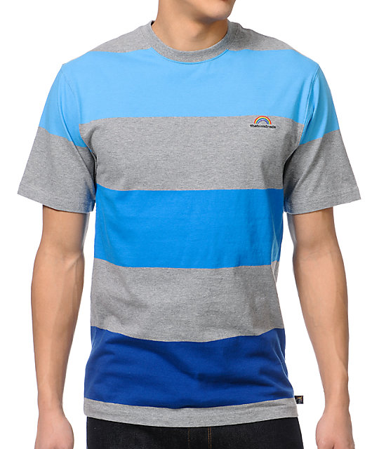 The Hundreds Mader Grey & Blue Striped T-Shirt