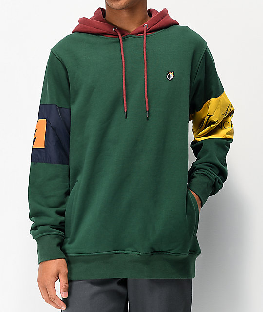 The Hundreds Milla Green & Burgundy Hoodie