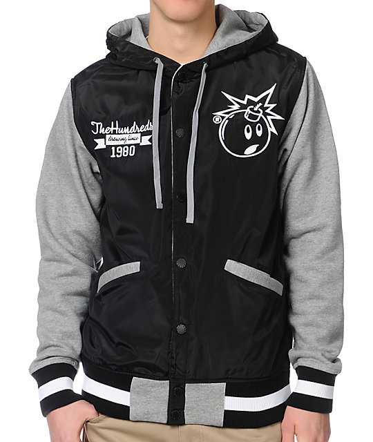 The Hundreds Reloaded Black & Grey Varsity Jacket