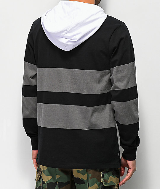 The Hundreds Ridge Black Hooded Long Sleeve Shirt