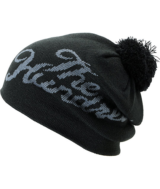 The Hundreds Slant Black Pom Beanie