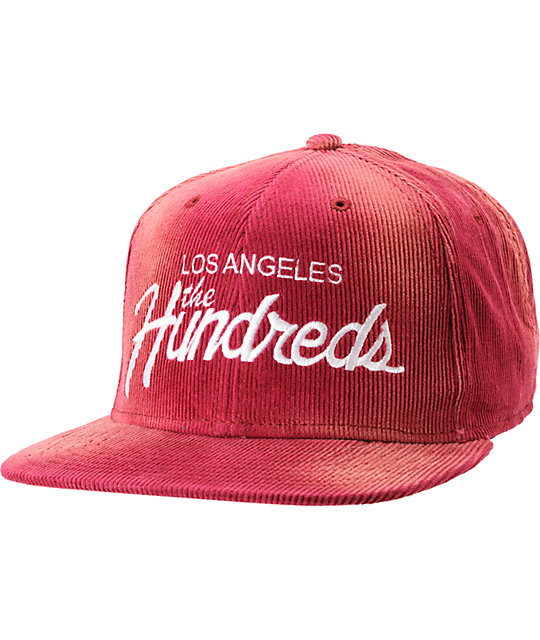 The Hundreds Team Maroon Corduroy Snapback Hat  2d7d0d55738