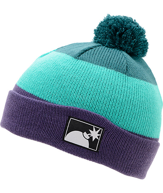 The Hundreds Tres Turquoise Pom Cuff Beanie