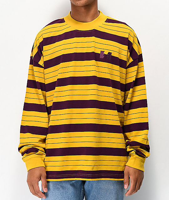 The Hundreds Vision camisa de manga larga dorada de rayas