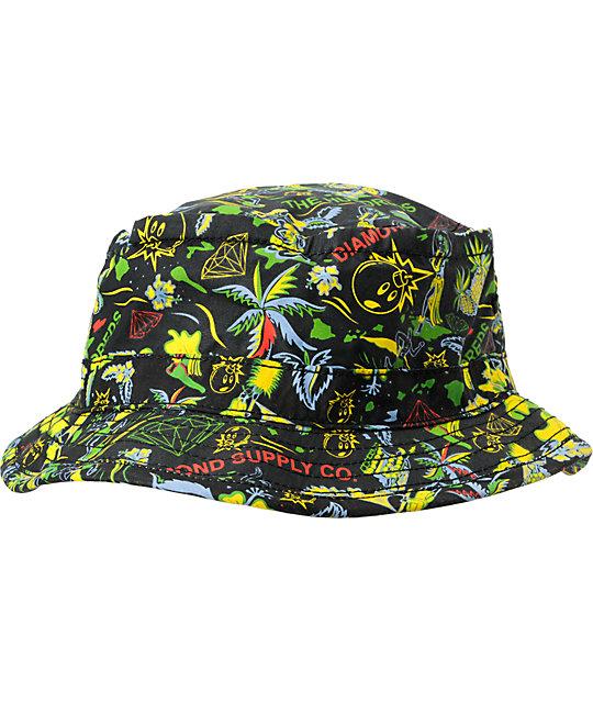 The Hundreds x Diamond Supply Adam Black Bucket Hat  f61fab68a06