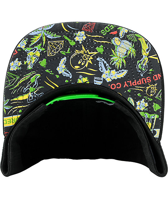 The Hundreds x Diamond Supply Adam Hawaiian Black Snapback Hat