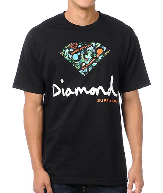 8d4a962d2 The Hundreds x Diamond Supply Logo Black T-Shirt | Zumiez