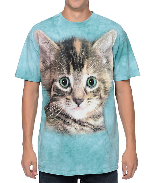 The Mountain Tyler Kitten Teal Tie Dye T-Shirt