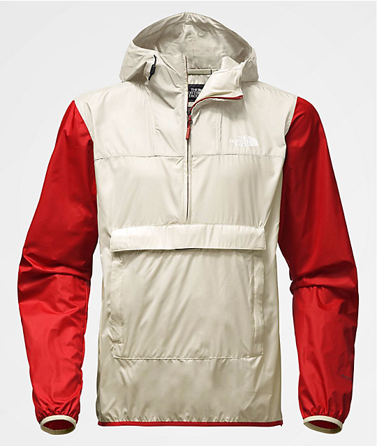 db64fc021 The North Face Fanorak Vintage White & Red Anorak Windbreaker Jacket