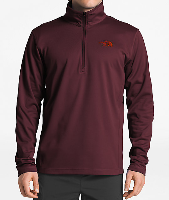 5cb03f43cc7fe The North Face Glacier Quarter Zip Burgundy Tech Fleece Sweatshirt ...