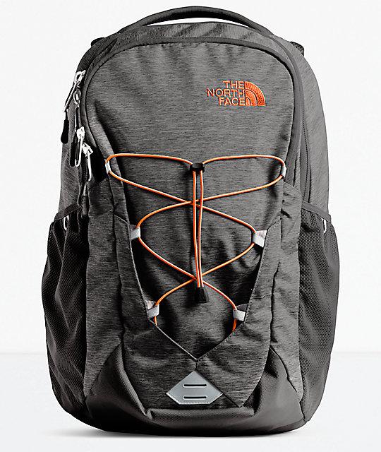 990abc249 The North Face Jester Dark Grey Heather & Orange Backpack