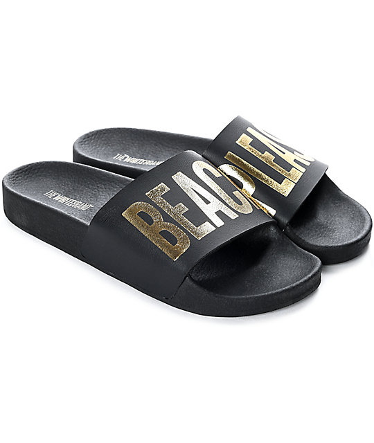 5951a792c7f4 TheWhiteBrand Beach Please Black   Gold Slide Women s Sandals