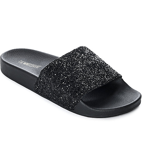 Women TheWhiteBrand Black Glitter Sandals Black Glitter Us Sale