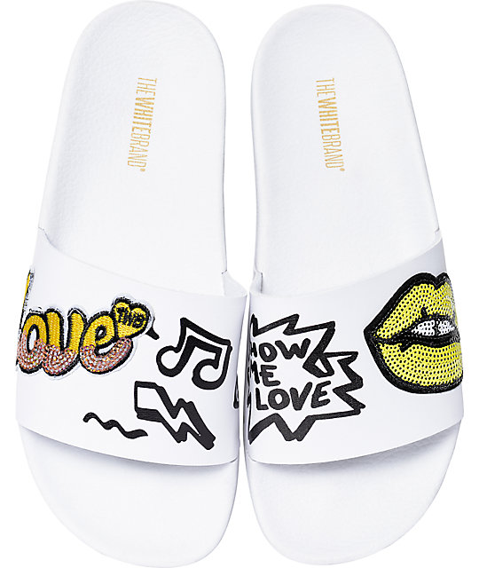 TheWhiteBrand Lips Yellow Slide Women's Sandals