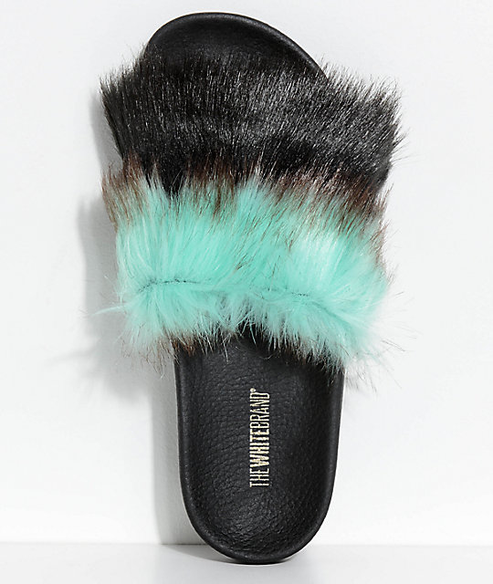 TheWhiteBrand Mint & Black Fur Slide Sandals