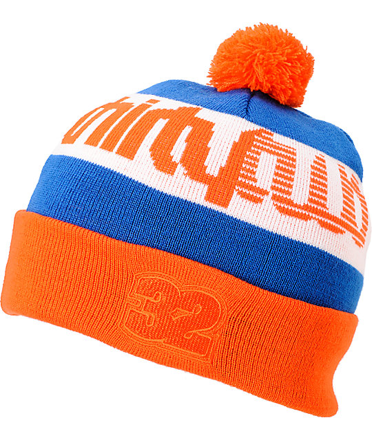 ThirtyTwo Dazed Royal Orange & White Pom Beanie
