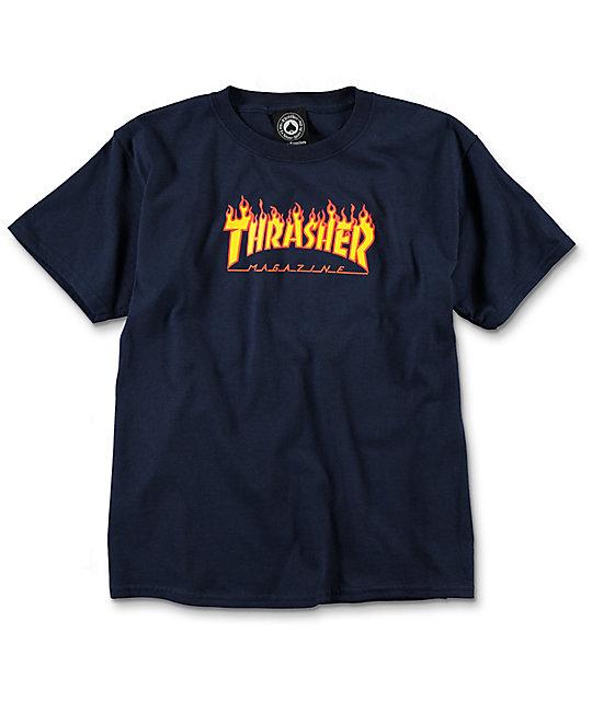 28fcfe23d Thrasher Boys Flame Navy T-Shirt