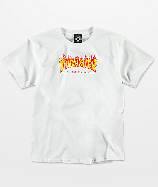 fdb517970958 Thrasher Boys Flame White T-Shirt