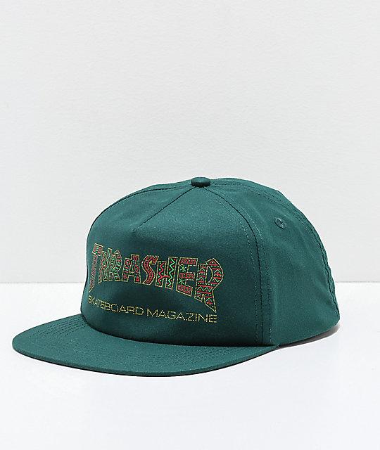 f55c695f311 Thrasher Davis Forest Green Snapback Hat