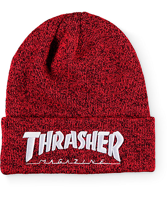 047459574 Thrasher Embroidered Logo Red Beanie