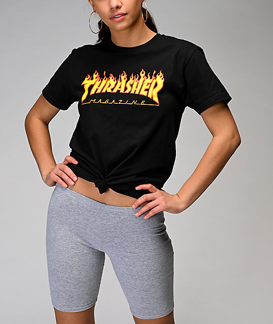 a50cbcfafb4 ... Thrasher Flame Logo Black Boyfriend Fit T-Shirt