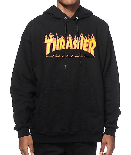 Thrasher Flame Logo Black Hoodie ... e6a49c164cbe