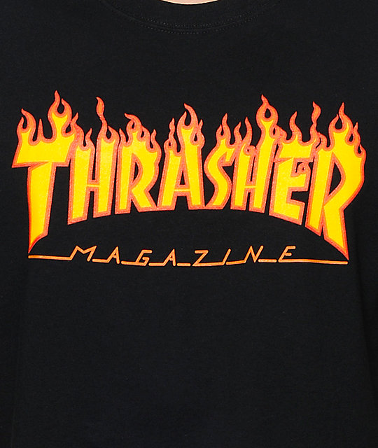 94adb5ef0856 ... Thrasher Flame Logo Black T-Shirt ...