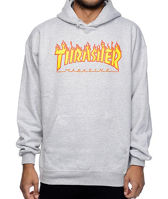 Thrasher Flame Logo Grey Hoodie  5e6d510c9