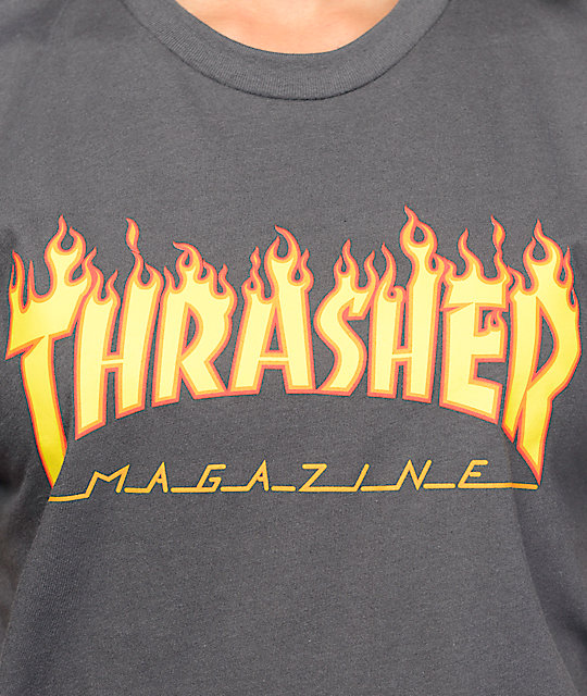 Thrasher Flame Logo Heavy Metal camiseta
