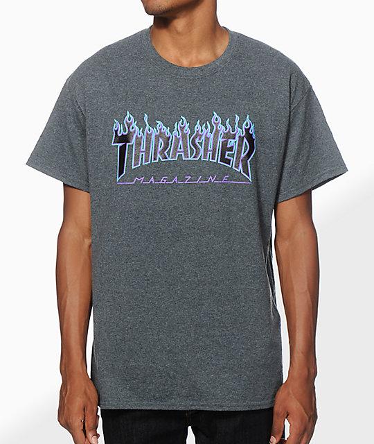 0b37faa426fb Thrasher Flame Logo Purp T-Shirt