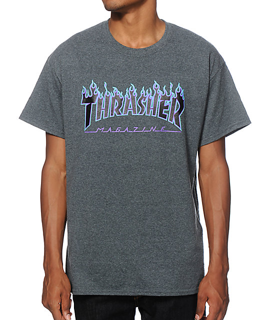 a7840582ea29 Thrasher Flame Logo Purple & Charcoal T-Shirt | Zumiez.ca